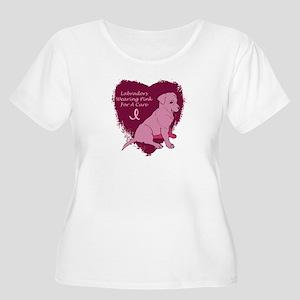 Pink Ribbon Labrador Women's Plus Size Scoop Neck
