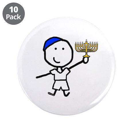 "Boy & Hanukkah 3.5"" Button (10 pack)"