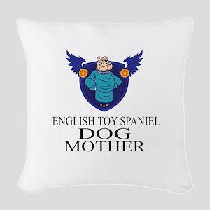 English Toy Spaniel Dog Mother Woven Throw Pillow