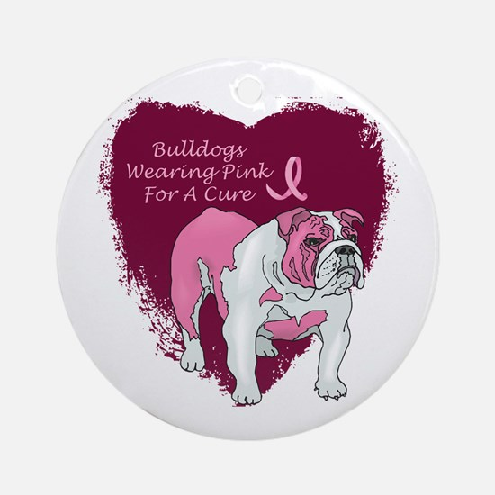 Pink Ribbon Bulldog Ornament (Round)