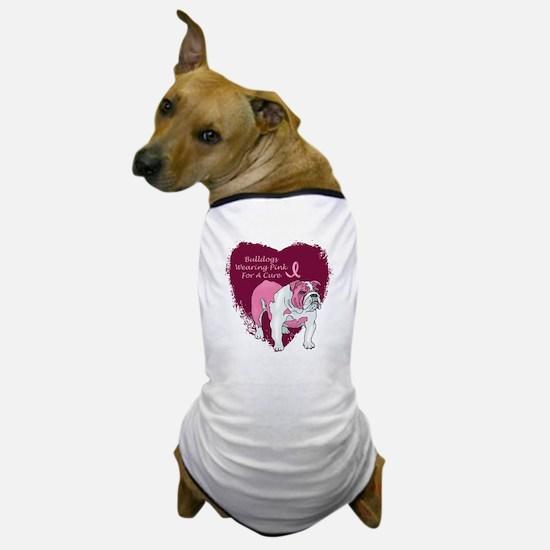 Pink Ribbon Bulldog Dog T-Shirt