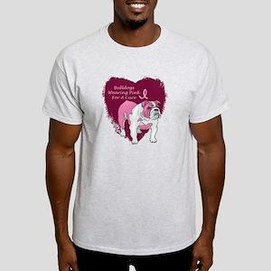 Pink Ribbon Bulldog Light T-Shirt
