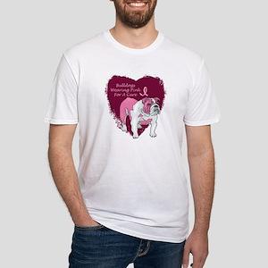 Pink Ribbon Bulldog Fitted T-Shirt