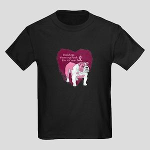 Pink Ribbon Bulldog Kids Dark T-Shirt