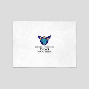English Foxhound Dog Mother 5'x7'Area Rug