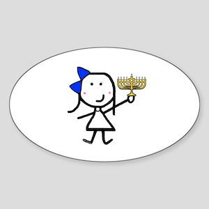 Girl & Hanukkah Oval Sticker