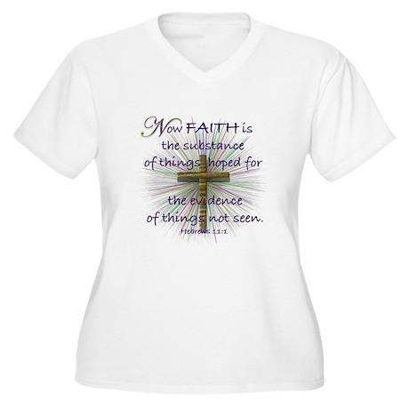Faith (Heb. 11:1 KJV) Women's Plus Size V-Neck T-S