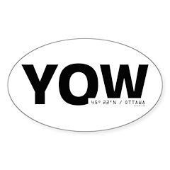 Ottawa Airport Code Yow Oval Sticker Black Des.