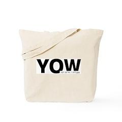 Ottawa Airport Code Canada YOW Black Des. Tote Bag