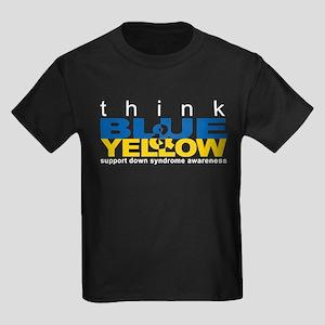 Think Blue And Yellow Kids Dark T-Shirt