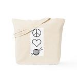 Peace Love Knit Tote Bag