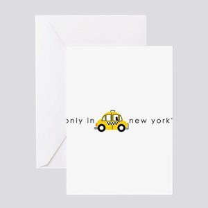 Only In New York Taxi_cartoon Greeting Card