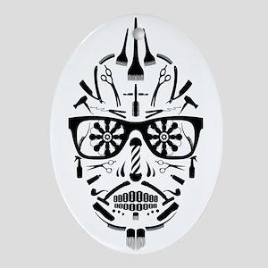 barbershop punk skull Oval Ornament