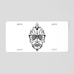 barbershop punk skull Aluminum License Plate