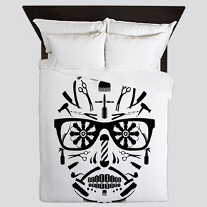 barbershop punk skull Queen Duvet