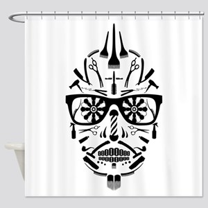 barbershop punk skull Shower Curtain