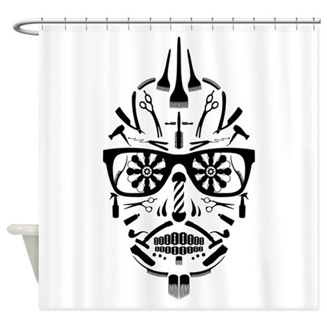 Barbershop Punk Skull Shower Curtain By Identica