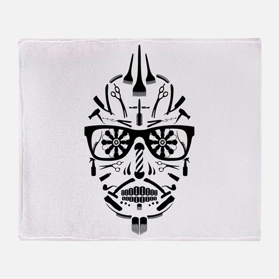 barbershop punk skull Throw Blanket