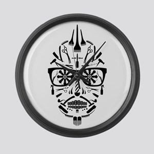 barbershop punk skull Large Wall Clock