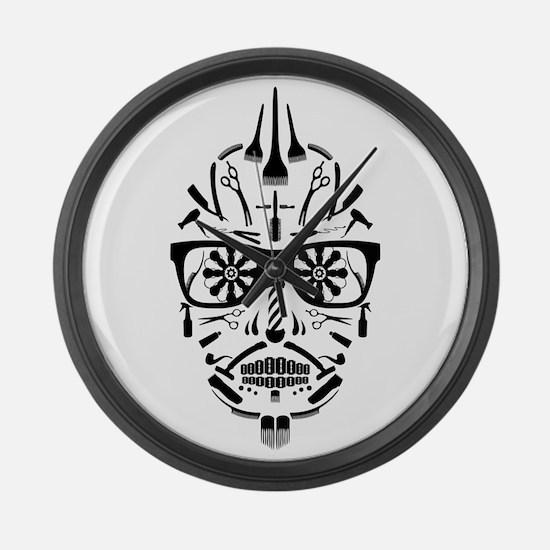 barbershop punk skull Large Wall Clock