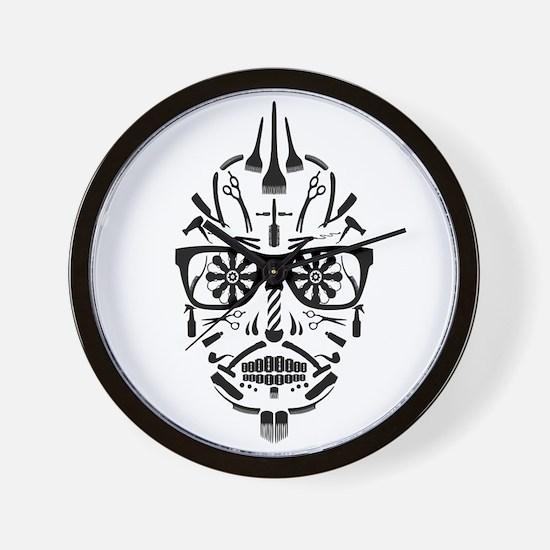 barbershop punk skull Wall Clock