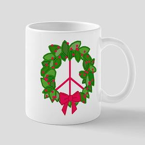 Holly Wreath Peace Sign Mug