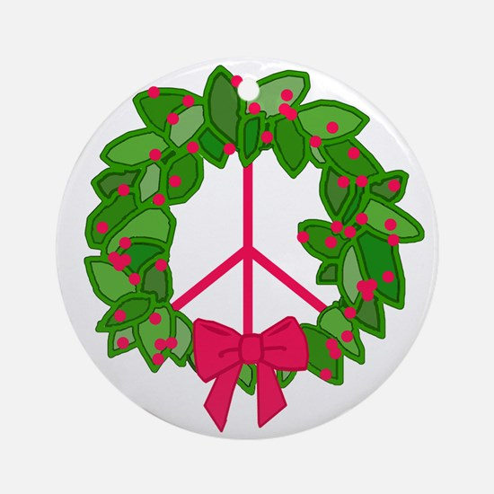 Holly Wreath Peace Sign Ornament (Round)
