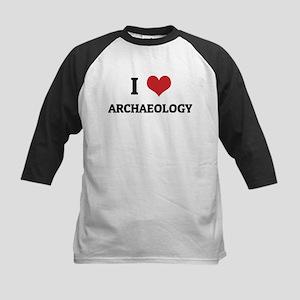 I Love Archaeology Kids Baseball Jersey