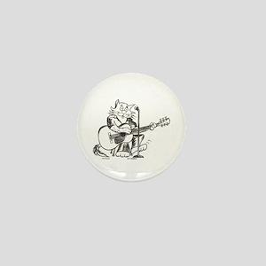 Catoons Acoustic Guitar Cat Mini Button
