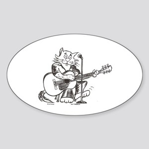 Catoons Acoustic Guitar Cat Oval Sticker