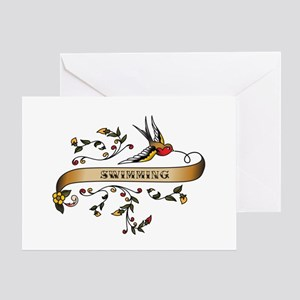 Swimming Scroll Greeting Card