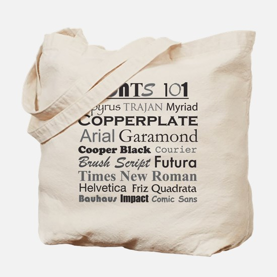 Fonts 101 Tote Bag