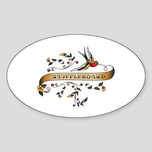 Shuffleboard Scroll Oval Sticker