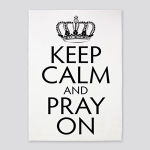 Keep Calm and Pray On Black and White 5'x7'Area Ru
