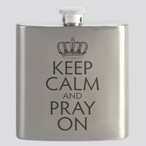 Keep Calm and Pray On Black and White Flask