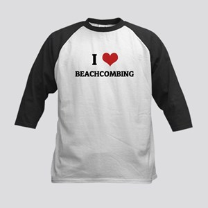 I Love Beachcombing Kids Baseball Jersey