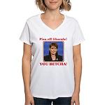 Sarah Palin You Betcha Women's V-Neck T-Shirt
