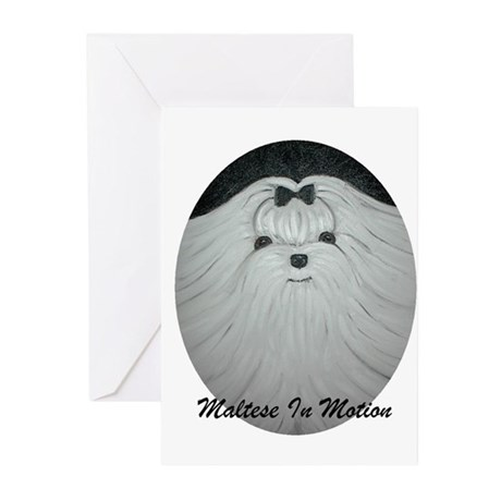 Maltese In Motion Greeting Cards (Pk of 10)