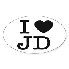I Heart J.D. Oval Sticker (50 pk)