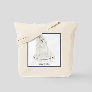 White Shih Tzu Christmas Tote Bag