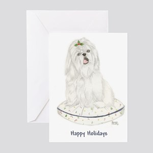 White Shih Tzu Christmas Greeting Cards (Package o