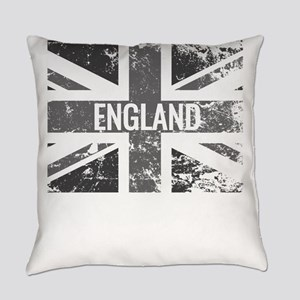 England Flag Shades of Gray Distre Everyday Pillow