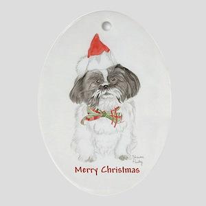 Black & White Shih Tzu Christmas Oval Ornament