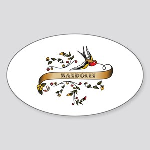 Mandolin Scroll Oval Sticker