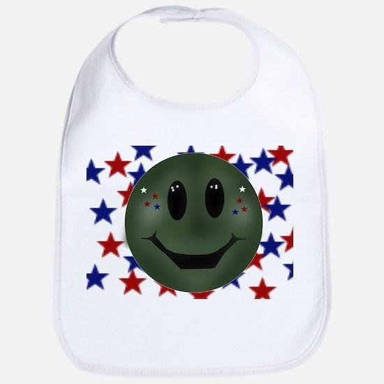 patriotic smilie face Bib