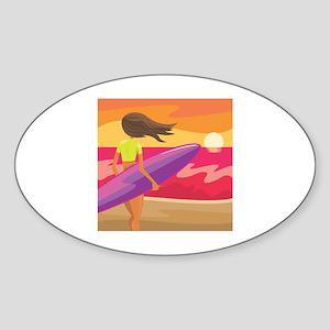 Surf Scape Oval Sticker