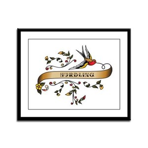 Hurdling Scroll Framed Panel Print