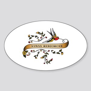Human Resources Scroll Oval Sticker