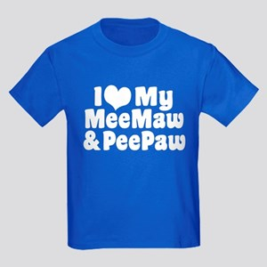 I Love My MeeMaw And PeePaw Kids Dark T-Shirt