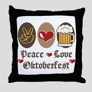 Peace Love Oktoberfest Throw Pillow